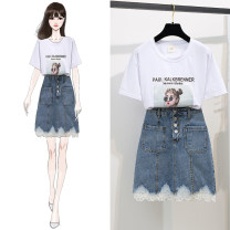 Fashion suit Summer of 2019 S,M,L,XL Character Top + skirt, rainbow Top + skirt Other / other 81% (inclusive) - 90% (inclusive) cotton