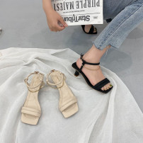 Sandals 35,36,37,38,39 Black, beige PU Sonlarfu / soranfu Barefoot Fine heel High heel (5-8cm) Summer 2021 Flat buckle Light cooked Solid color Adhesive shoes Youth (18-40 years old), general rubber daily Ankle strap Low Gang Hollow PU PU Flat buckle Shaving