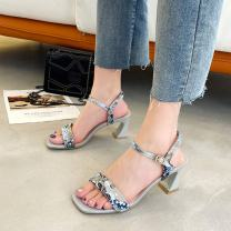 Sandals 34,35,36,37,38,39 PU Sonlarfu / soranfu Barefoot Thick heel High heel (5-8cm) Summer 2021 Flat buckle Sweet Solid color Adhesive shoes Youth (18-40 years old), general rubber daily Ankle strap Low Gang Hollow PU PU Flat buckle Shaving