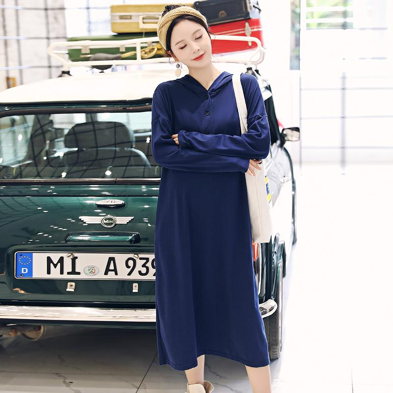 Dress Others 94 Light grey Navy M L XL XXL Korean version Long sleeves Medium length autumn routine Solid color Space cotton 8038#