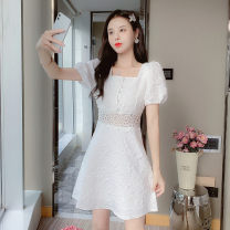 Dress Summer 2021 white S,M,L,XL,160/84A,165/88A,170/92A,175/96A Short skirt singleton  Short sleeve commute square neck High waist Solid color zipper routine Others 25-29 years old Type A Other / other Korean version 9958# 91% (inclusive) - 95% (inclusive) Lace other