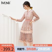 Dress Spring 2021 Wax powder 155/S 160/M 165/L 170/XL Mid length dress singleton  Long sleeves commute Polo collar High waist Socket Pleated skirt routine 30-34 years old Type H Iveni Korean version Button screen printing 20DQ098 More than 95% Chiffon polyester fiber Polyester 100%