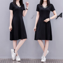 short coat Summer 2020 S,M,L,XL,2XL,3XL,4XL black Short sleeve Medium length Thin money singleton  Sweet Other / other Fat sister's belly covering top loose large T-shirt skirt cotton cotton