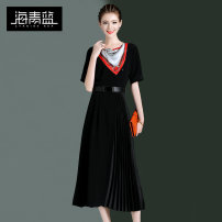 Dress Summer of 2019 black S M L XL longuette singleton  Short sleeve commute Crew neck High waist Solid color zipper Pleated skirt routine Others 30-34 years old Type A Cyanine sea / aquamarine Ol style Pleated tie print 921C14218 More than 95% polyester fiber Polyester 100%