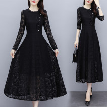 Dress Autumn 2020 Apricot, black M,L,XL,2XL,3XL,4XL Mid length dress singleton  Long sleeves commute Crew neck middle-waisted Solid color Socket routine 30-34 years old Type A Korean version Gouhua hollow, nail bead, zipper 51% (inclusive) - 70% (inclusive) Lace