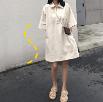 skirt Summer of 2019 Average size Apricot Mid length dress commute Type H 51% (inclusive) - 70% (inclusive) Other / other cotton zipper Korean version