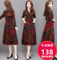 Dress Autumn of 2019 Scarlet without velvet, scarlet with velvet 50. XL, 2XL, 3XL, 4XL, 5XL, 20% discount for single coupon, shopping cart + collection + pay attention to store, enjoy priority delivery singleton  Long sleeves commute V-neck High waist Broken flowers Socket A-line skirt routine Others