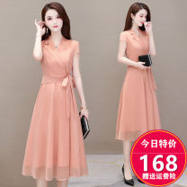 Dress Summer 2020 M. L, XL, 2XL, 3XL, discount 20 for single coupon, shopping cart + collection + focus on store, enjoy priority delivery singleton  Short sleeve commute V-neck High waist Solid color Socket A-line skirt routine Others 35-39 years old Type A Korean version other