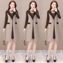 Dress Autumn of 2019 khaki 50. XL, 2XL, 3XL, 4XL, 5XL, 20% discount for single coupon, shopping cart + collection + pay attention to store, enjoy priority delivery Two piece set Long sleeves commute Crew neck middle-waisted other other other Others 40-49 years old Korean version JLNHH-JBH309