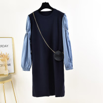 Dress Autumn 2020 Blue (delivery bag), black (delivery bag) Average size Mid length dress singleton  Long sleeves commute Crew neck Loose waist Solid color Socket other routine 25-29 years old Type H Korean version Fold, splice 81% (inclusive) - 90% (inclusive) knitting polyester fiber