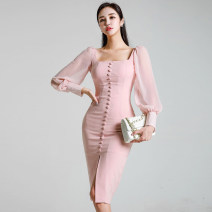 Dress Autumn of 2018 Pink S,M,L,XL Mid length dress singleton  Long sleeves commute square neck High waist Solid color Single breasted One pace skirt puff sleeve Others 25-29 years old Type H Korean version Button, open back 51% (inclusive) - 70% (inclusive) brocade cotton