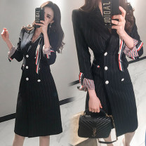 Dress Autumn of 2018 stripe S,M,L,XL Mid length dress singleton  Long sleeves commute tailored collar middle-waisted stripe double-breasted One pace skirt routine Others 25-29 years old Type H Ol style Button 81% (inclusive) - 90% (inclusive) brocade polyester fiber