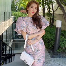 Dress Stitching, zipper, mesh, printing Summer 2021 longuette Short sleeve commute singleton  Crew neck Design and color High waist zipper 25-29 years old puff sleeve One pace skirt 71% (inclusive) - 80% (inclusive) polyester fiber Type A Korean version Other Other / other organza  S,M,L,XL