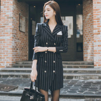 Dress Autumn 2020 navy blue S,M,L,XL Middle-skirt singleton  Long sleeves commute tailored collar High waist stripe double-breasted A-line skirt routine 25-29 years old Type X Korean version Button 71% (inclusive) - 80% (inclusive) brocade nylon