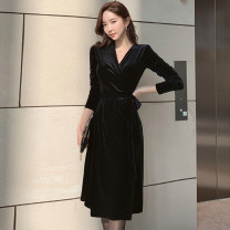 Dress Autumn 2020 black S,M,L,XL Mid length dress singleton  Long sleeves commute V-neck High waist Solid color zipper A-line skirt routine Others 25-29 years old Type A Korean version Bow tie 71% (inclusive) - 80% (inclusive) Flannel acrylic fibres