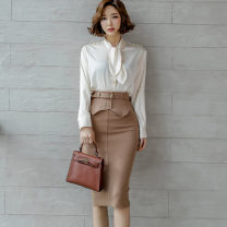 Dress Spring 2020 Picture color (suit) S,M,L,XL Mid length dress Two piece set Long sleeves commute High waist Solid color zipper One pace skirt Others 25-29 years old Type H Ol style Bowknot, stitching, button, zipper 71% (inclusive) - 80% (inclusive) brocade nylon