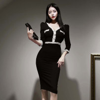 Dress Autumn 2020 black S,M,L,XL Mid length dress singleton  Long sleeves commute V-neck High waist Solid color zipper One pace skirt routine Others 25-29 years old Type H Korean version 71% (inclusive) - 80% (inclusive) brocade nylon