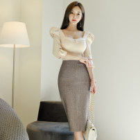 Dress Autumn 2020 Picture color S,M,L,XL Mid length dress singleton  three quarter sleeve commute square neck High waist Solid color zipper One pace skirt puff sleeve Others 25-29 years old Type H Korean version Zipper, stitching 71% (inclusive) - 80% (inclusive) brocade nylon