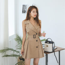 Dress Summer 2020 Khaki, dark blue S,M,L,XL Short skirt singleton  Sleeveless commute Polo collar High waist Solid color Single breasted Big swing other Others 25-29 years old Type X Korean version Lace up, button 71% (inclusive) - 80% (inclusive) brocade nylon