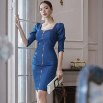 Dress Autumn 2020 blue S,M,L,XL Middle-skirt singleton  three quarter sleeve commute square neck High waist Solid color zipper One pace skirt other Others 25-29 years old Type X Korean version zipper 51% (inclusive) - 70% (inclusive) Denim cotton