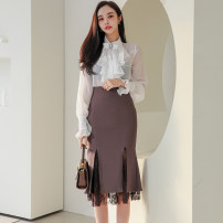 Dress Spring 2021 white S,M,L,XL Mid length dress Two piece set Long sleeves commute stand collar High waist Solid color zipper Ruffle Skirt Others 25-29 years old Type H Korean version Ruffles, bows, stitching, buttons, zippers, mesh, lace 71% (inclusive) - 80% (inclusive) brocade polyester fiber