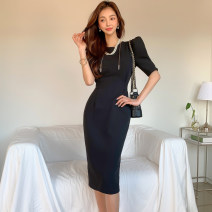 Dress Summer 2021 black S,M,L,XL Mid length dress singleton  Short sleeve commute Crew neck High waist Solid color zipper One pace skirt Princess sleeve Others 25-29 years old Type H Korean version Zipper, bow 71% (inclusive) - 80% (inclusive) brocade nylon