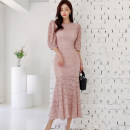 Dress Summer 2021 Black, pink S,M,L,XL longuette singleton  three quarter sleeve commute Crew neck High waist Solid color zipper Ruffle Skirt other Others 25-29 years old Type A Korean version 71% (inclusive) - 80% (inclusive) Lace polyester fiber