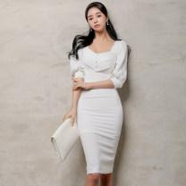 Dress Spring 2021 S,M,L,XL Mid length dress singleton  three quarter sleeve commute square neck High waist Solid color Single breasted One pace skirt puff sleeve Others 25-29 years old Type H Korean version 71% (inclusive) - 80% (inclusive) brocade nylon
