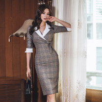 Dress Spring of 2019 Picture color S,M,L,XL Mid length dress singleton  three quarter sleeve commute tailored collar High waist lattice zipper One pace skirt Others 25-29 years old Type H Korean version Bowknot, lace up, stitching, zipper, button 51% (inclusive) - 70% (inclusive) brocade cotton