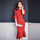 Dress Autumn of 2018 gules S,M,L,XL Mid length dress singleton  three quarter sleeve commute Crew neck High waist Solid color zipper Ruffle Skirt Bat sleeve Others 25-29 years old Type X Korean version Ruffle, stitching, zipper 71% (inclusive) - 80% (inclusive) brocade cotton