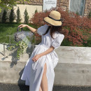 Dress Summer 2021 White, black, broken flowers S,M,L Mid length dress singleton  Short sleeve commute V-neck middle-waisted Solid color Socket A-line skirt puff sleeve Others 25-29 years old Type A Korean version More than 95% other cotton