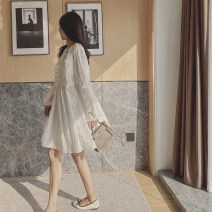 Dress Summer 2021 White gold wire S,M,L Middle-skirt singleton  Long sleeves commute Crew neck High waist Solid color Socket A-line skirt bishop sleeve Others 25-29 years old Type A Korean version More than 95% Chiffon polyester fiber