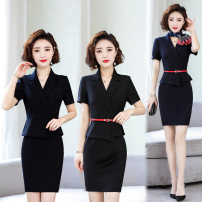 Dress Summer 2020 Dark blue dress (with red belt), black dress (with red belt) S,M,L,XL,2XL,3XL,4XL Mid length dress Fake two pieces Short sleeve commute V-neck middle-waisted Solid color zipper other routine Others Type H Bgf-261 31% (inclusive) - 50% (inclusive) brocade polyester fiber