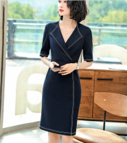 Dress Spring of 2019 Blue dress, black dress S,M,L,XL,2XL,3XL,4XL Middle-skirt singleton  elbow sleeve commute V-neck Solid color other routine Others 25-29 years old Type H Ol style YZH-2063 71% (inclusive) - 80% (inclusive) other polyester fiber