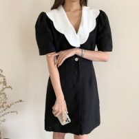 Dress Summer 2020 Khaki, black S, M Middle-skirt singleton  Short sleeve commute Doll Collar High waist Solid color Socket other puff sleeve Others 18-24 years old Type H Korean version 71% (inclusive) - 80% (inclusive) other cotton