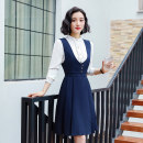 Dress Autumn of 2019 Black dress, blue dress, white shirt 4XL,3XL,2XL,XL,L,M,S Short skirt singleton  Sleeveless commute V-neck middle-waisted Solid color straps 18-24 years old Ol style 91% (inclusive) - 95% (inclusive)