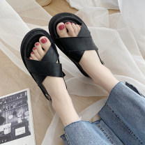Sandals 35,36,37,38,39 PU Maileshows Barefoot Thick heel Middle heel (3-5cm) Summer 2021 Flat buckle Korean version Solid color Adhesive shoes Youth (18-40 years old) rubber daily Rear trip strap Low Gang Hollow PU PU czx0313 Flat buckle Zero point eight