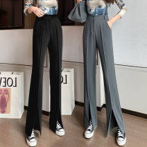Casual pants Gray, black S,M,L,XL Spring 2021 trousers Flared trousers High waist commute routine 25-29 years old 51% (inclusive) - 70% (inclusive) ZD other Korean version pocket