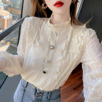 shirt Apricot, white, black S,M,L,XL Spring 2021 polyester fiber 51% (inclusive) - 70% (inclusive) Long sleeves commute Regular stand collar Socket bishop sleeve Solid color 25-29 years old Straight cylinder Korean version ZD Lace Chiffon
