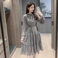 Dress Spring 2021 Picture color S,M,L,XL,2XL Mid length dress singleton  Long sleeves commute stand collar High waist Broken flowers Socket A-line skirt other Others 25-29 years old Type A Korean version Lace up, print, fungus ER 81% (inclusive) - 90% (inclusive) Chiffon other