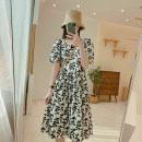 Dress Spring 2021 Black and white pattern, yellow flower on rice bottom Average size Middle-skirt singleton  Short sleeve commute square neck Loose waist Decor Socket A-line skirt routine 25-29 years old Type A IMFLY Korean version Q1179 More than 95% cotton
