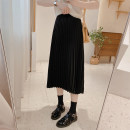 skirt Spring 2021 M / twenty-seven , L / twenty-eight Thin and black Mid length dress commute High waist A-line skirt Solid color Type A 25-29 years old Q1173 IMFLY Korean version