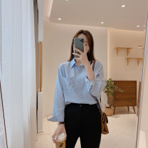 shirt Average size Spring 2021 cotton 71% (inclusive) - 80% (inclusive) Long sleeves commute Regular Polo collar Single row multi button routine Solid color 25-29 years old Straight cylinder IMFLY Korean version C1096 Button
