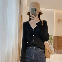 Wool knitwear Spring 2021 Average size Black, gray Long sleeves singleton  Cardigan other 30% and below Regular routine commute Straight cylinder routine Solid color Single breasted Korean version M2038 25-29 years old IMFLY