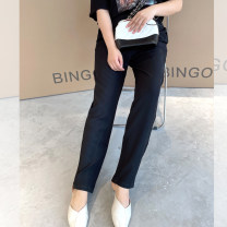 Women's large Summer 2021 black L-xl, 2XL, 3XL, 4XL trousers Two piece set commute easy moderate Solid color Korean version polyester Three dimensional cutting SC61113 18-24 years old Three dimensional decoration 96% and above trousers zipper