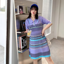 Women's large Summer 2021 L-xl, 2XL, 3XL Dress singleton  commute Self cultivation moderate Socket Short sleeve stripe Korean version Crew neck polyester Collage 25-29 years old Three dimensional decoration 96% and above Three buttons