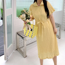 Women's large Summer 2021 canary yellow L, XL, 2XL, 3XL, 4XL, 5XL Dress singleton  commute easy moderate Conjoined Short sleeve Solid color Korean version other routine fold routine Three dimensional decoration 96% and above Middle-skirt other