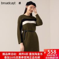 Dress Spring of 2019 L50 moss green XS,S,M,L,XL Mid length dress singleton  Long sleeves commute Crew neck Loose waist stripe Socket Pencil skirt 25-29 years old Type H Broadcast / broadcast Simplicity BDM6LD112 31% (inclusive) - 50% (inclusive) other nylon
