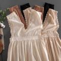 Dress Autumn 2020 Average size longuette singleton  Sleeveless Sweet V-neck Solid color Socket Princess Dress camisole Type A Other / other other polyester fiber Mori