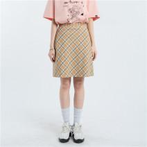skirt Spring 2021 S,M,L khaki , Khaki second batch Short skirt commute High waist A-line skirt lattice 30% and below Korean version